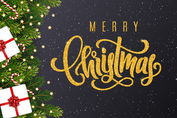 Holiday gift card with golden hand lettering Merry Christmas and gifts, fir tree branches, candy canes, stars on dark background. Template for a banner, poster, invitation