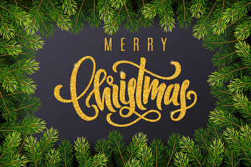 Holiday gift card with golden hand lettering Merry Christmas and fir tree branches on dark background. Template for a banner, poster, invitation