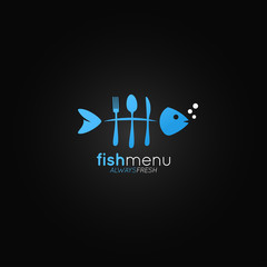 Fish logo menu. Fish bones in the form of a fork on black background