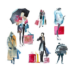 Hand drawn watercolor people with shopping bags. Fashion, sale, autumn.