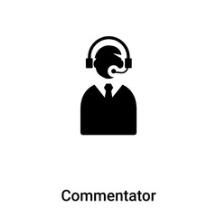 Commentator icon vector isolated on white background, logo concept of Commentator sign on transparent background, black filled symbol