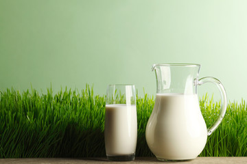 Glass of milk and jar on meadow