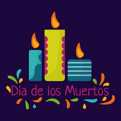Day of the dead. Dia de los Muertos concept with colorful candles and text. Vector illustration.