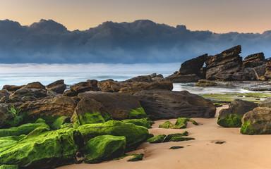 Mossy Green Sunrise Seascape
