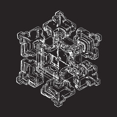 Snowflake isolated on black background. This vector illustration based on macro photo of real snow crystal: elegant star plate with six short, broad arms, relief surface and complex inner structure.