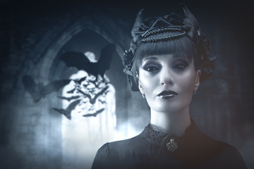 gothic lady with bats in a castle, photomanipulation