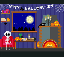Vector illustration of night living room with table and fireplace decorated for Halloween party.