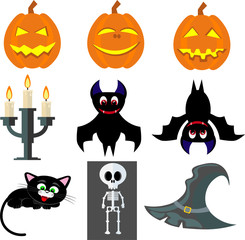 Vector set for Halloween: pumpkins, cat, hat, candles, skeleton.