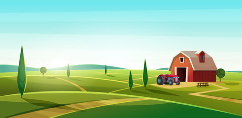 Printed roller blinds Turquoise Colorful countryside landscape with a barn and tractor on the hill. Rural location. Cartoon modern vector illustration