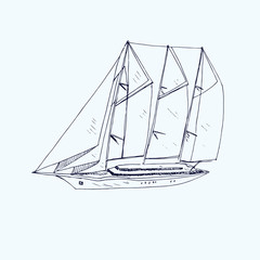 Three mastered schooner yacht type, hand drawn doodle, sketch, black and white vector illustration