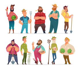 Collection of farm character design. Happy and healthy farmers set