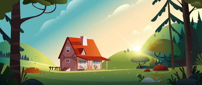 Country house in the forest. Farm in the countryside. Cottage among trees. Cartoon vector illustration