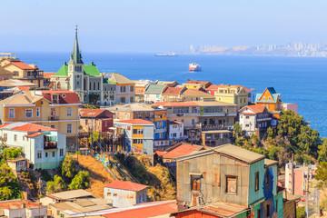 Panorama Valparaiso Santiago Chili ville colorée vue port Mer
