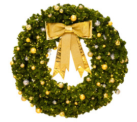 Wall Mural - Christmas Wreath with gold ribbon bow isolate on white