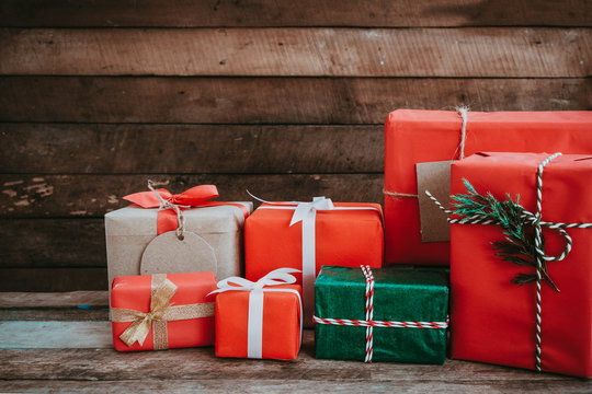 Christmas present for Merry Christmas and New year holiday. Rustic gift boxes. vintage color tone image.
