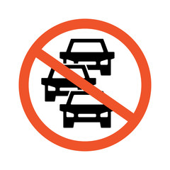No heavy car and traffic jam vector icon, symbol and sign illustration on white background.