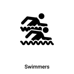 Swimmers icon vector isolated on white background, logo concept of Swimmers sign on transparent background, black filled symbol