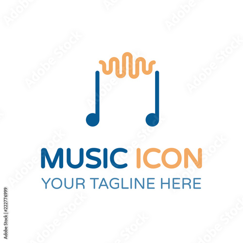 Creative music icon  Vector thin line illustration of musical notes
