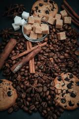 coffee, brown sugar and cinnamon
