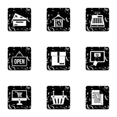 Selling products icons set. Grunge illustration of 9 selling products vector icons for web