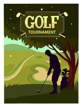 Golf tournament. Cartoon vector poster