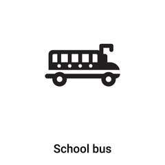 School bus icon vector isolated on white background, logo concept of School bus sign on transparent background, black filled symbol