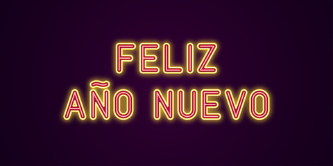 Neon festive inscription for Spanish New Year