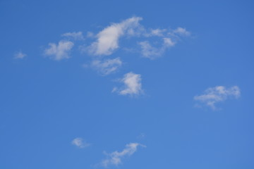 sky, cloud, blue, clouds, white, nature, day, cloudscape, fluffy, air, weather, summer, atmosphere, clear, heaven, light, bright, cloudy, beautiful, cumulus, blue sky, heart, spring, space, sun