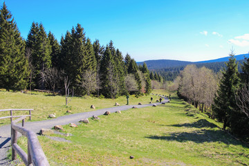 Torfhaus, hiking to mount Brocken, Goetheweg, hiker