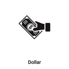 Dollar icon vector isolated on white background, logo concept of Dollar sign on transparent background, black filled symbol