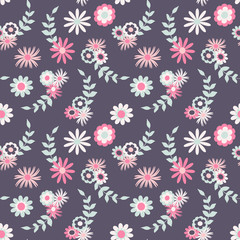 Seamless pattern with flowers and leaves in vintage style, vector. Good for fabric, paper products, surface coating and more