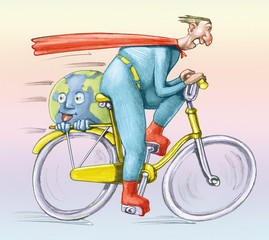 superman ecologist in bike humorous cartoon ecology concept pencil draw editorial style