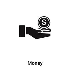 Money icon vector isolated on white background, logo concept of Money sign on transparent background, black filled symbol