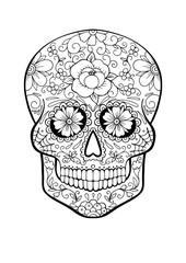 sugar skull, coloring page