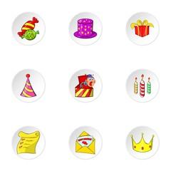 Birthday icons set. Cartoon illustration of 9 birthday vector icons for web