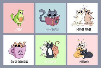 Set of cute cats cards. Avocado cat, coffee-cat. Cat reading a book. Pyramid made of cats.
