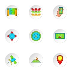 Search way icons set. Cartoon illustration of 9 search way vector icons for web