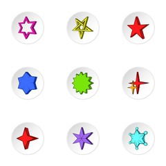 Star icons set. Cartoon illustration of 9 star vector icons for web