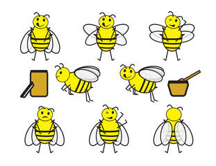 Set of cute cartoon bees and and honey jars on white background