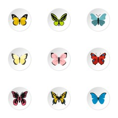 Flying butterfly icons set. Flat illustration of 9 flying butterfly vector icons for web