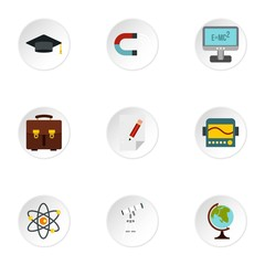 Science icons set. Flat illustration of 9 science vector icons for web