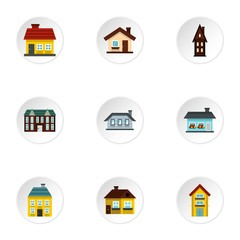 House icons set. Flat illustration of 9 house vector icons for web