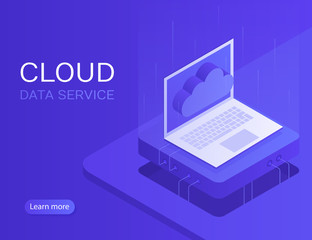 Cloud server banner, laptop with cloud icon. Modern Vector illustration in Isometric style