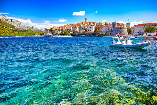 Seafront view at Korcula old town, historic island and travel european destination in Croatia