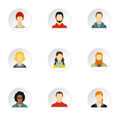 Avatar people icons set. Flat illustration of 9 avatar people vector icons for web