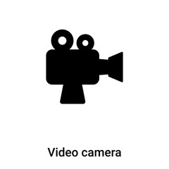 Video camera icon vector isolated on white background, logo concept of Video camera sign on transparent background, black filled symbol
