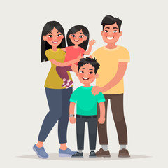 Asian happy family. Dad, mom, daughter and son together. Vector illustration