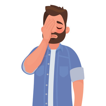 Man with a gestures facepalm. Headache, disappointment or shame
