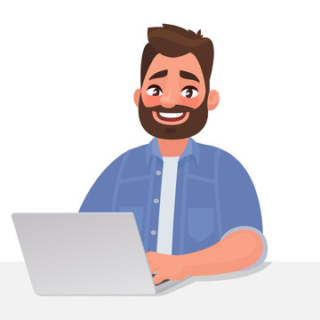 Business man and laptop. Work at the computer. Vector illustration