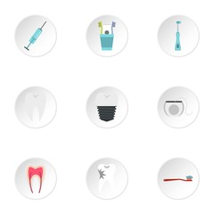 Stomatology icons set. Flat illustration of 9 stomatology vector icons for web